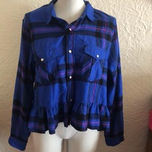 Urban Outfitters BDG Blue Ruffle Flannel Shirt